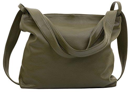 Primo Sacchi® Ladies Italian Olive Green Textured Leder Grab Umhängetasche Tasche Rucksack Rucksac. Incudes Branded Protective Storage Bag - Firenze Leder Taschen