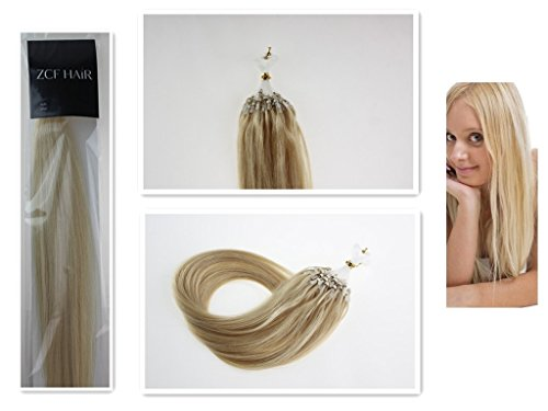 Style 26'' Easy Loops Micro Rings Beads Tipped 100% Real Human Hair Extensions Straight Hair Color 60 Platinum Blonde Beauty Design Salon by COOL-BEAUTY