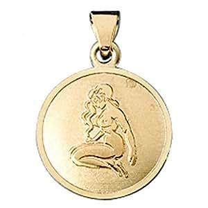Pendentif signe du zodiaque Vierge en or jaune 333