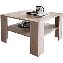 Couchtisch Wohnzimmertisch Braun Holz Sonoma Eiche Quadratisch Zwischenablage Modern
