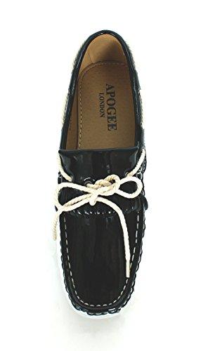 Herren Deck Boot Patent Leder Slip auf Loafer mit Diff Farbe Combi 6