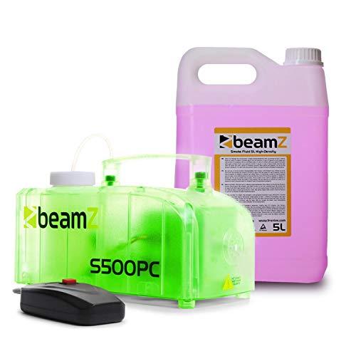 beamZ S500PC Nebelmaschine mit LED • 500 W • 2 x 3 RGB-LEDs • 250 ml Tank • Füllstandsanzeige • 50 m³/Min. Ausstoßvolumen • inkl. 5-Liter-Nebelfluid • transparent -