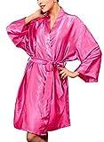 Dolamen Unisex Damen Herren Morgenmantel Kimono, Satin Nachtwäsche Bademantel Robe Kimono Negligee Seidenrobe Locker Schlafanzug, Büste 132cm, 51,97 Zoll, Große Größe für Alle (Rose)