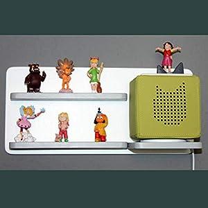 Regal für Toniebox und Figuren Tonie Tonies ® für Kinder - Kinderregal für Audio Musikbox Figuren - weiß-hellgrau - Kinderzimmer