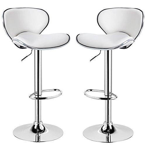 Eugad sgabelli da bar, sgabello con schienale senza braccioli con poggiapiedi, sedia alta cucina, acciaio cromato ecopelle 2 pezzi bianco
