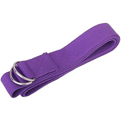 niceeshop(TM) Tiempo Ajustable Estiramiento Yoga Entrenamiento Accesorios Algodón Yoga Correa Cinturón con Hebilla,