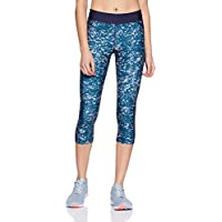 Under Armour, Ua Hg Armour Printed Capri, Pantaloni con Pinocchietto, Donna, Blu (Bayou Blue/Midnight Navy/Metallic Silver 953), M