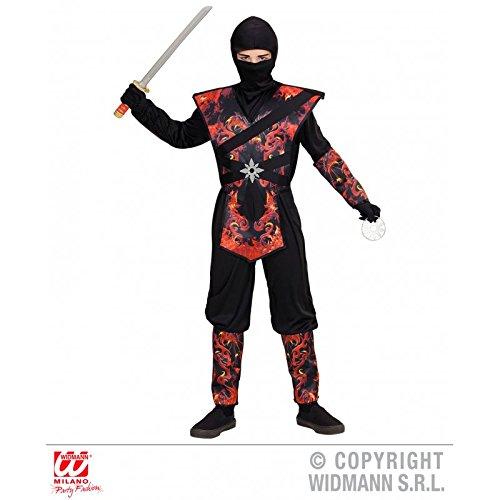 Kinderkostüm Drachenninja mit Flammenaufdruck / Ninjakostüm / Halloweenkostüm / Faschingsskostüm Gr. 128 ( 5 - 7 Jahre (Kostüm Schwertkämpfer Halloween)