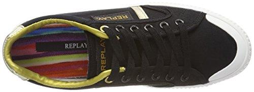 REPLAY Dayton, Scarpe da Ginnastica Basse Donna Multicolore (Black Gold)