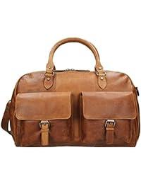 Petit sac de voyage / cabas taille S en cuir nappa, pour hommes et femmes, marron, Jahn-Tasche 698