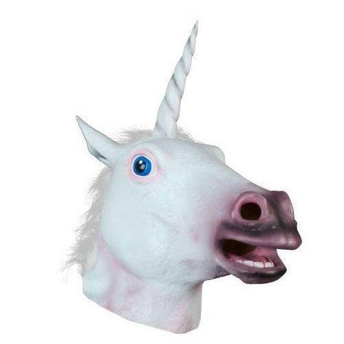 queenshiny Weiß Einhorn Kopf Maske Gesicht Gummi Latex Kunstpelz Cosplay Kostüm