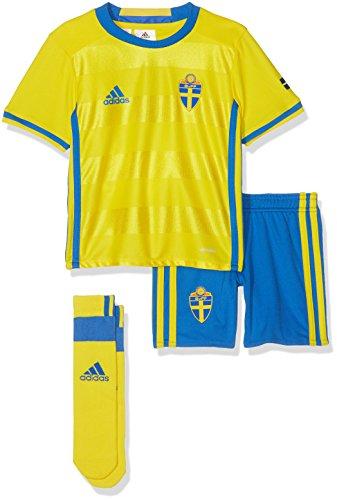 adidas Kinder Fußball/Heim-ausrüstung Schweden Mini Fußballausrüstung Yellow/Broyal, 98