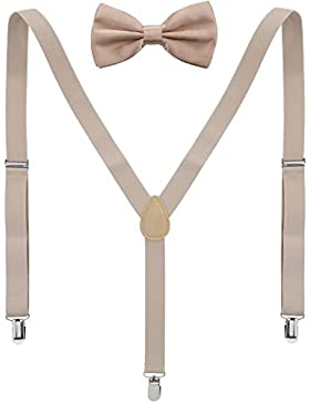 ZWOOS Tirantes Elástica Ajustable Y-Forma Para Hombre Y Mujer con Pajarita para Hombre y Mujer