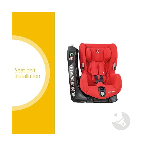 Maxi-Cosi Axiss Swiveling Toddler Car Seat, Extra Secure Fit, Reclining, 9 Months-4 Years, 9-18 kg, Nomad Red Maxi-Cosi 90 degrees swivel to secure the child and take them out more easily Simultaneous harness and headrest adjustment to perfectly fit the growing child Convenient belt hooks keeps the harness open when placing the child in the seat 2