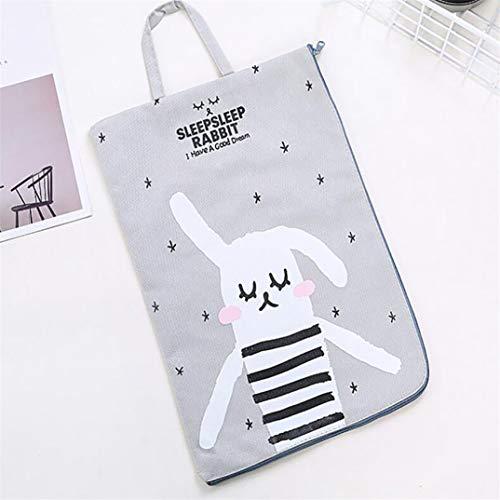 JOOFFF Tasche mit Hasen-Motiv, Cartoon-Motiv, A4, tragbare Dokumententasche, Aufbewahrungstasche mit Reißverschluss - grau