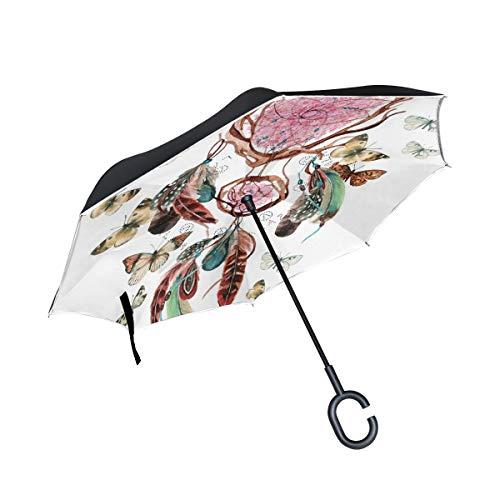 CPYang Paraguas invertido atrapasueños Plumas Mariposa Doble Capa Paraguas Reflectante Resistente al Viento para Coche al Aire Libre Viaje