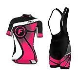 FDX– Maglietta da donna per andare in bicicletta, a mezze maniche + salopette con pantaloncini, Pink