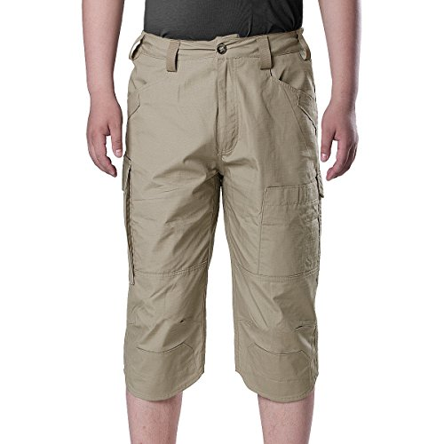 Free soldier Outdoor Men's Cargo Shorts 3/4 Capris Summer Breathable Multi-Pocket Cropped Trousers
