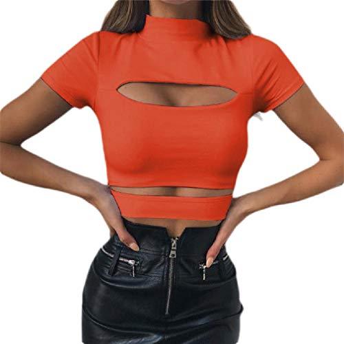 Aooword Women's Spliced Mock Neck Tee Cut Out Short Sleeve Hollow T Shirts Orange M -