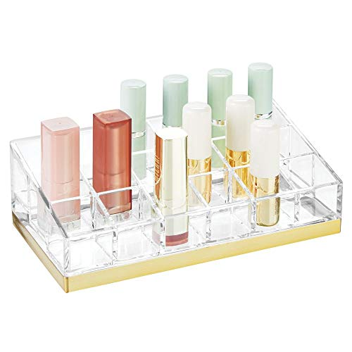 mDesign Rangement Maquillage Pratique - boîte à Maquillage déco pour Vernis à Ongles et Rouge à lèvres - présentoir Make up à 18 Compartiments - Transparent et Couleur Laiton