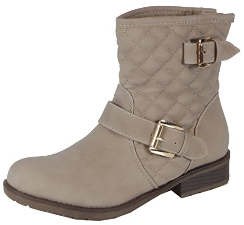 Shellya - stylische Steppmuster Damen Halbschaft Stiefeletten Karo Biker Boots Blockabsatz Herbst Winter Schuhe 36 37 38 39 40 41 Steppmuster Beige