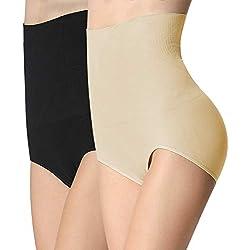 iLoveSIA 2X Culottes Gainante Uni Femme Minceur Panty Gaine Amincissante Noir+Ecru Panty Slim Corset Etiquette XL
