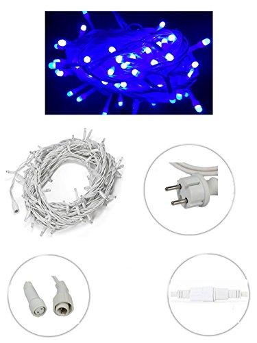 Vetrineinrete® Luci natalizie led per esterno prolungabile serie da 180 led luce blu catena luminosa 18 metri filo bianco in gomma addobbi e decorazioni natalizi P39