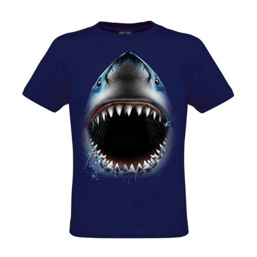 Ethno Designs Aquatic - Tiermotiv Fische - Raubfische - Hai T-Shirt für Damen und Herren - Shark Face, regular fit, navy, Größe XL (Shark-grafik)