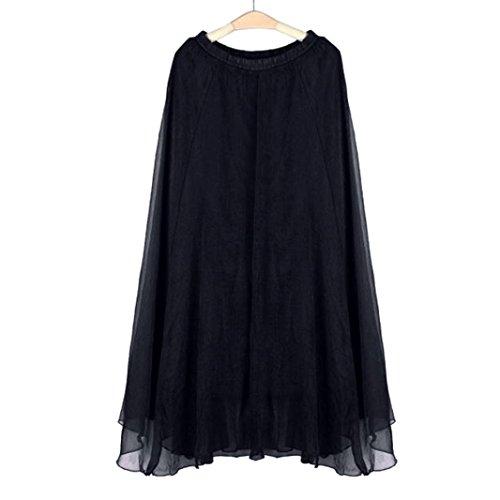 FEITONG Femmes Mousseline de soie Taille elastique Longue Maxi Robe de plage Noir