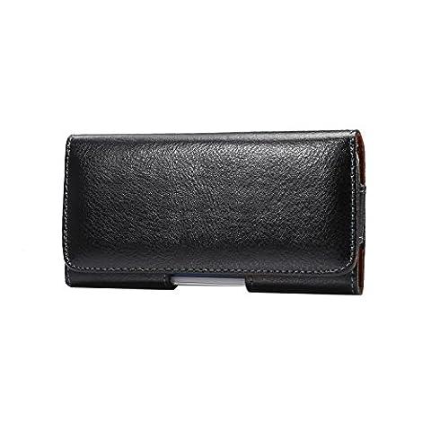 Lordwey® 5.7-6.0inch Housse de ceinture horizontale universelle pour téléphone portable, étui en cuir véritable pour porte-monnaie pour Samsung S8 Plus/Huawei Mate8/iPhone 7 Plus/LG G5