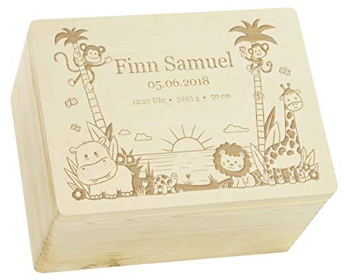 LAUBLUST Holzkiste mit Gravur - Personalisiert mit ❤ GEBURTSDATEN ❤ - Naturbelassen, Größe XL - Dschungel Motiv - Erinnerungskiste als Geschenk zur Geburt