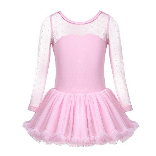 CHICTRY Kinder Ballettanzug Langarm Trikot Tanzbody mit Röckchen Mädchen Ballett Kleider Tanzkleid Polka Dots Ballettoutfit Kostüm 92-140 Rosa 116 (Polka Tanz Kostüm)