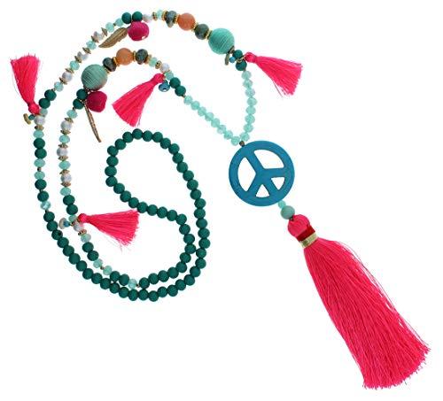 Needful Thinx Lange Ibiza Halskette Handmade Boho Hippie Kette Festival bunt natur neon Bommeln Fransen Muscheln Perlen IN65 (Peace türkis grün neon pink / 68cm)