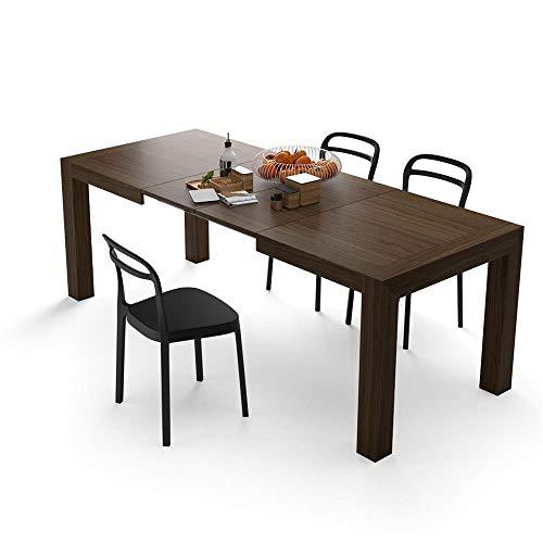 Mobili fiver iacopo, tavolo allungabile fino a 220 centimetri moderno, noce canaletto, 140x90x77 cm