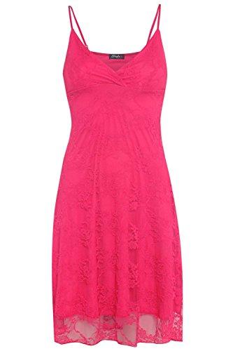 Nouveaux Femmes Grande Taille florale de dentelle de cru rayé Mini-robe 36-50 Cerise
