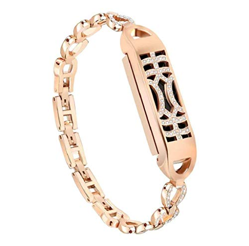 Cinturino alla moda, Scpink Braccialetto in cristallo regolabile regolabile con interruttore ad adsorbimento in metallo con braccialetto di diamanti per Fitbit Flex 2 Fitness Watch (Piccolo, Oro rosa)
