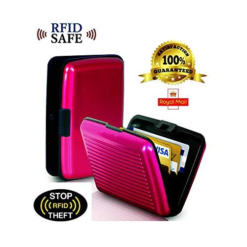 DGDJ Geldbörse aus Aluminium für Kreditkarten, RFID-blockierend, 6 Farben (schwarz) Rose - Aluminium Banner
