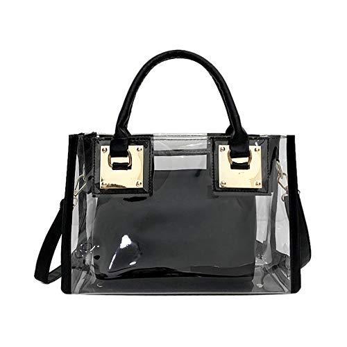 AlwaySky Damenmode Transparente Tasche 2 in 1 Handtasche Top Griff Tote Schulter Crossbody Tasche Schwarz - Single Strap Tote