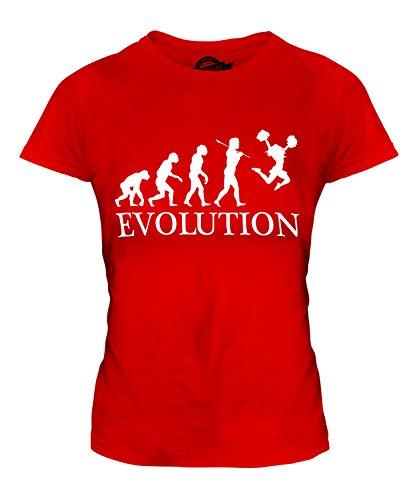 Candymix Cheerleading Cheerleader Evolution Des Menschen Damen T Shirt, Größe X-Small, Farbe Rot