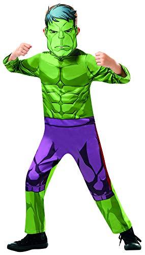 Halloweenia - Jungen Kinder Hulk Classic Kostüm aus Avengers Assemble mit Einteiler und Maske, perfekt für Karneval, Fasching und Fastnacht, 92-98, Grün
