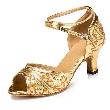 XIAMUO Anpassbare Frauen Latin/Salsa/Ballroom Dance Schuhe Gold/Silber Kunstleder/Sekt Glitzer Sandalen angepasst Silber