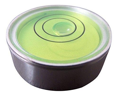 Preisvergleich Produktbild Dosenlibelle - Kleine runde Metall-Wasserwaage mit Bullseye (grüner Flüssigkeit) – Rundes, stehendes Werkzeug für Hobby, Plattenspieler, Kamera und Wohnwagen