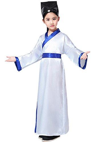 BOZEVON Kinder Jungen & Mädchen Performance Kleidung, Konfuzius Kostüme, Hanfu, alte Chinesische Traditionelle Kostüme, Oberteile + Gürtel + Hut (Weiß,EU 120 = Tag 130)