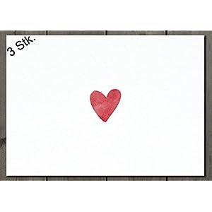 3x Postkarte / Minimotiv No 1 Herz