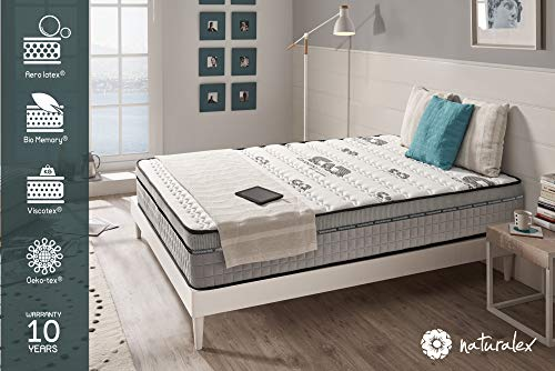NATURALEX Matelas Visco Carbone - Mémoire de Forme Bio Memory et Viscotex - Confort Tonique - 7 Zones de Confort - 25 cm - 140 x 190 cm
