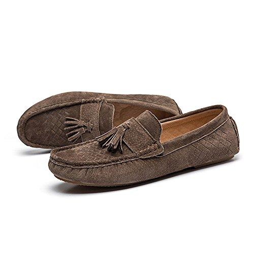 iLory Chaussures Bateau pour homme en suédine Mocassins Pantoufles de Conduite,Men's-dérapant Plates Loafers tissé Marron