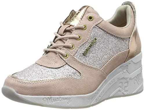 MUSTANG Damen 1319-301-555 Sneaker, Rot (Rose 555), 41 EU (Keil-sneaker Schuhe)