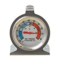 Features:Constructed with a durable stainless steel casing for added strength and corrosion resistance.The unique appliance thermometer design can hang from a shelf or stand on its own.Specifications:Item Size: 140*100*30mmMaterial: metalColo...