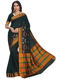 Craftsvilla Women's Silk Blend Thread Work Designer Green Saree With Blouse Piece