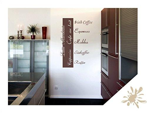 Wandtattoo Wandbanner Cappuccino Espresso Mokka Küche (kfe02 beige) 80 x 53 cm mit Farb- u. Größenauswahl